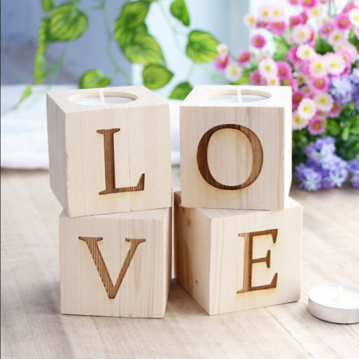 Maison Romantic Decor Wooden Candle Holders With Love