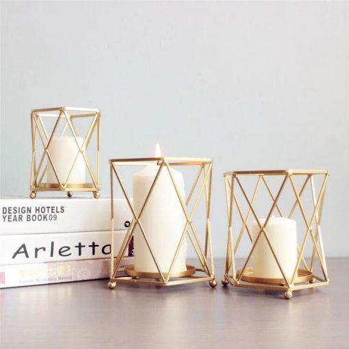 Makola Glod Iron Glass Art Stand Candlestick Candelabrum