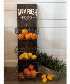 Monogram 3-tied Farm Fresh Produce Hanger Metal Fruit Bowl&Baskets