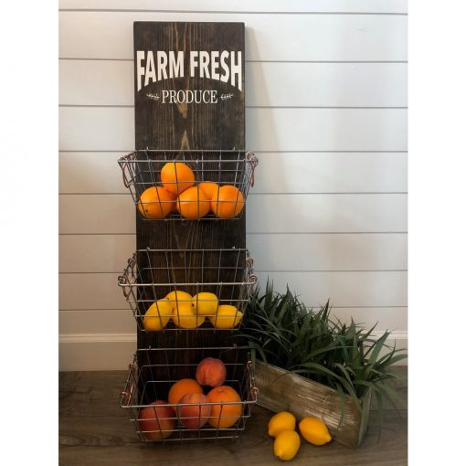 Monogram 3-tied Farm Fresh Produce Hanger Metal Fruit Bowl&Baskets