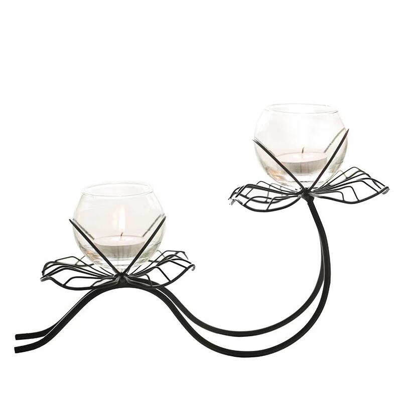 Perasima Wrought Iron Lotus Candlestick Deco