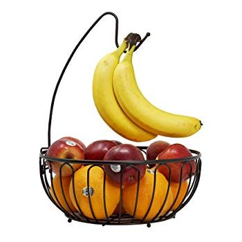 Barbarian Bronze Wire Fruit Tree Bowl With Banana Hanger Basket Stand