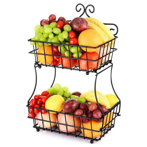 French Countryside Countertop 2 Tier Fruit Baskets With Bread Storage Stand