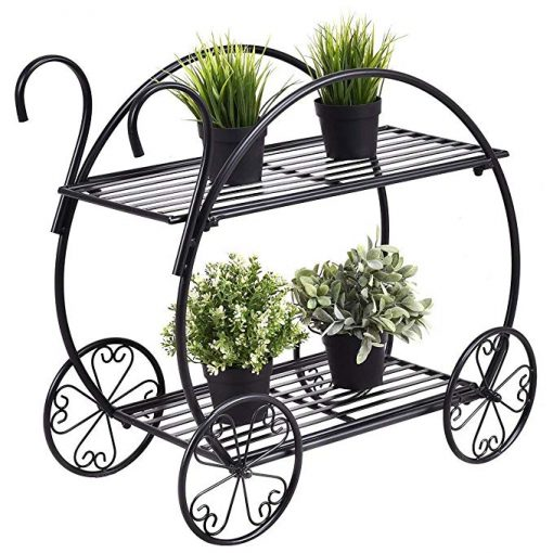 Modern 2 Tier Display Rack Heavy Duty Metal Cart Home Decorative Plant Display Stand