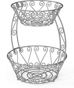 Mila 2-Tier Metal Countertop Fruit Basket Bowl Storage