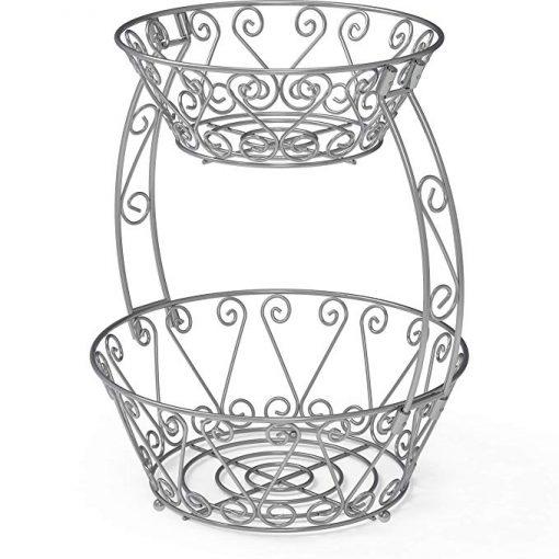 Mila 2-Tier Metal Countertop Fruit Basket Bowl Storage