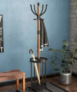Tocca Wood and Metal Coat Rack with Umbrella Stand