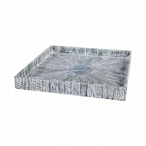 Apothecary Square Black Wash Kenchuto Antique Rustic Teak Wood Tray