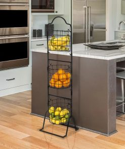 Arielle 3-Tier Wire Market Basket Stand for Fruit, Vegetables With Storage Organization