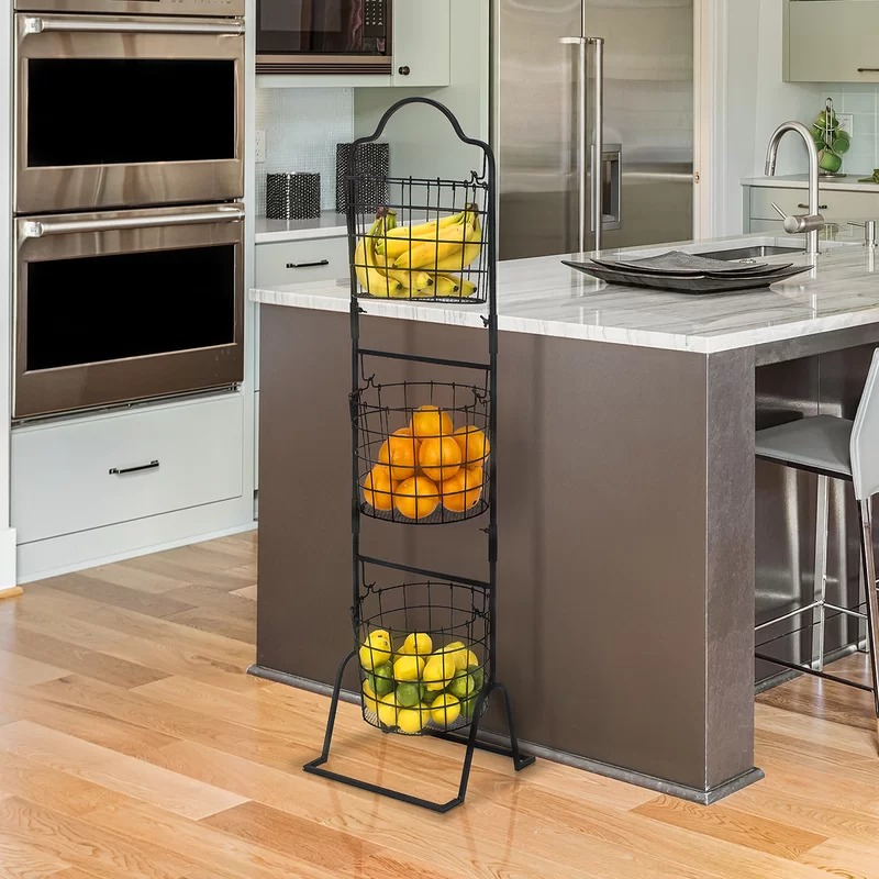 Arielle 3 Tier Wire Market Basket Stand For Fruit ...