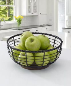 Assorted Metal Gourmet Basics Rope Round Fruit Basket