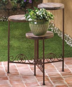 Aurora Rustic Finish Triple Planter Table Set