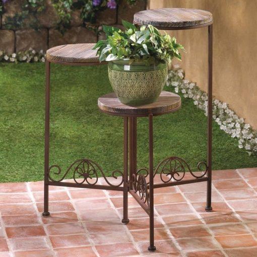 Aurora Rustic Finish Triple Planter Table Set