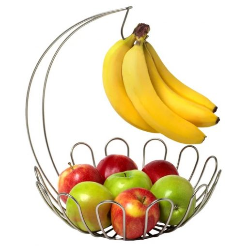 Wicker Metal Banana Hanger With Fruit Bowl