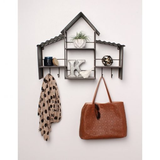 Colloquial Corrugated Metal House Wall Shelves with Coat Rack Hooks