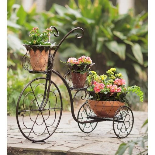Tricycle Nostalgic Bicycle Home Garden Decor Wrought Iron Plant Stand