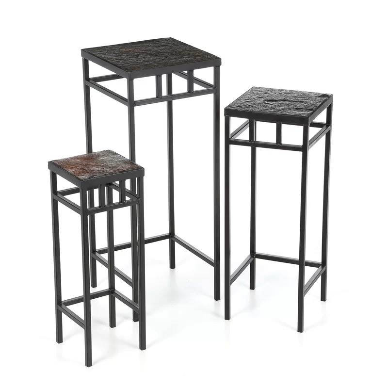 Kocostar 3 Piece Slate Square Plant Stands With Slate Tops Set