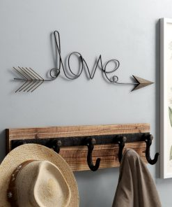 Bronze Love Arrow Metal Wall Art Decor