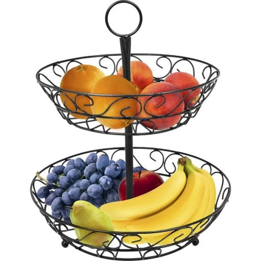 Calypso 2-Tier Scrollwork Standing Fruit Basket Holder