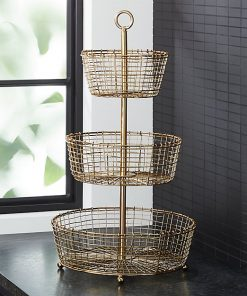 Carrie Rustic Weave Gold 3-Tier Wire Fruit Basket