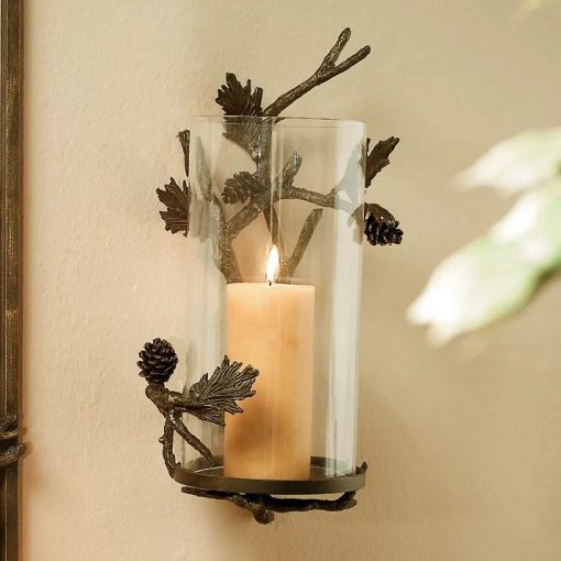 Cassini Metal Pinecone Hurricane Candle Holder