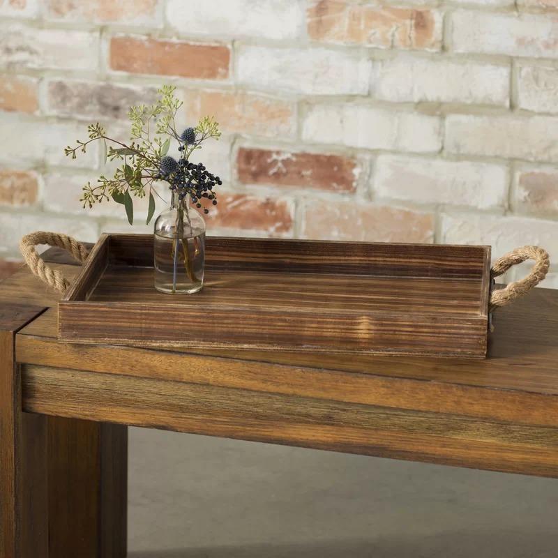 Ceramic Wholesale Rustic Beach Wood Tray with Jute Rope Handles