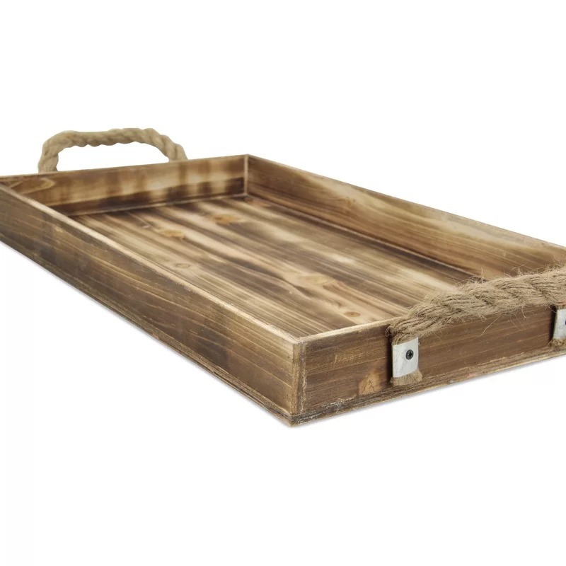 Ceramic Wholesale Rustic Beach Wood Tray with Jute Rope Handles