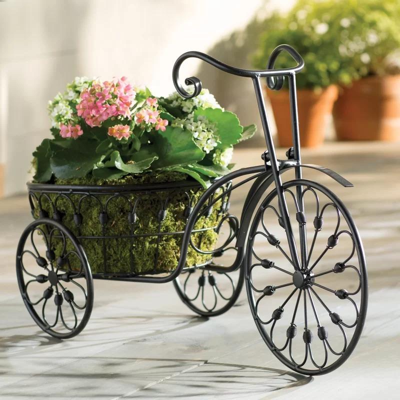 Kocostar 3 Wheel Mini Garden Tricycle Planter Home Decor Iron Plant Stand