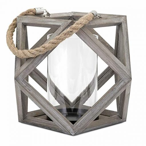 Cosabella Geometric Weathered Wood and Glass Pillar Candle Lantern