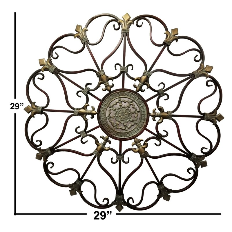 Crown Vintage Round Bronze Metal Wall Decor