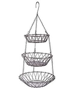 Poppin 3-Tier Wire Detachable Customizable Round Hanging Fruit Baskets