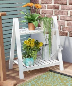 Cindy 2-tied Plant Stand Outdoor Bamboo Flower Pot Shelf Stand Folding Display Rack Garden Yard