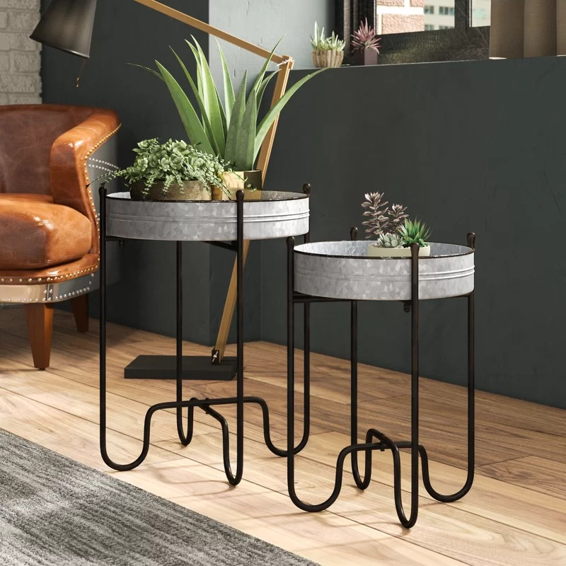 Casetify Set of 2 Circular Metal Planter Tables