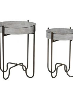 Stasia Set Of 2 Circular Metal Planter Tables