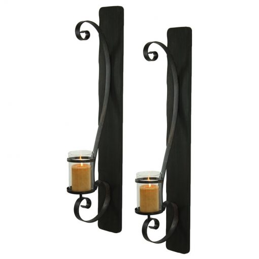 Dotted Set Of 2 Vintage Metal Sconces With Glass Candleholders