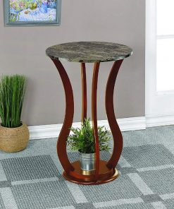 Dottie Round Faux Marble Top Pedestal Plant Stand