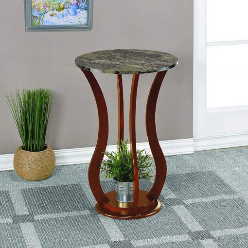Dottie Round Faux Marble Top Pedestal Plant Stand