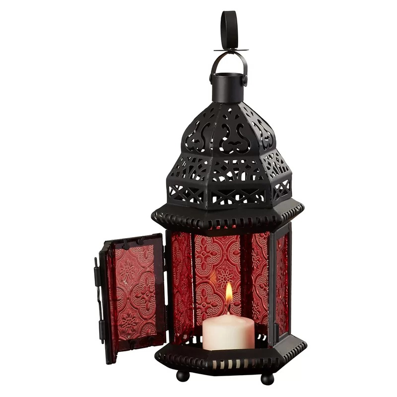 Duchess Red Glass Metal Moroccan Candle Holder Hanging Lantern