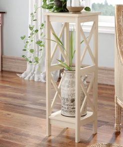 Foxglove Solid Wood X-sided Plant Stand, Washed Gray Taupe