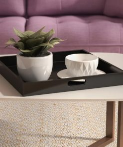 Eloise Black Square Natural Wood Tray With Two Handles