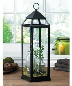 Ragonda Extra Tall Black Lean & Sleek Contemporary Metal Lantern With Glass