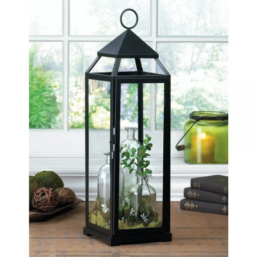 Ragonda Extra Tall Black Lean & Sleek Contemporary Metal Lantern With Glass