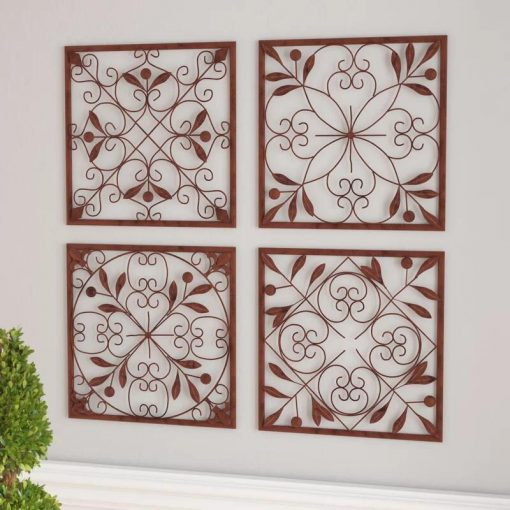 Faux Abstract and Geometric Iron Wall Art Decor Set