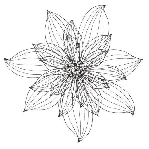 Faux Black Metal Wire Flower Wall Decor