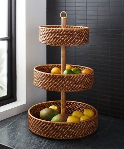 Fields Handwoven Rattan 3-Tier Fruit Basket Decor