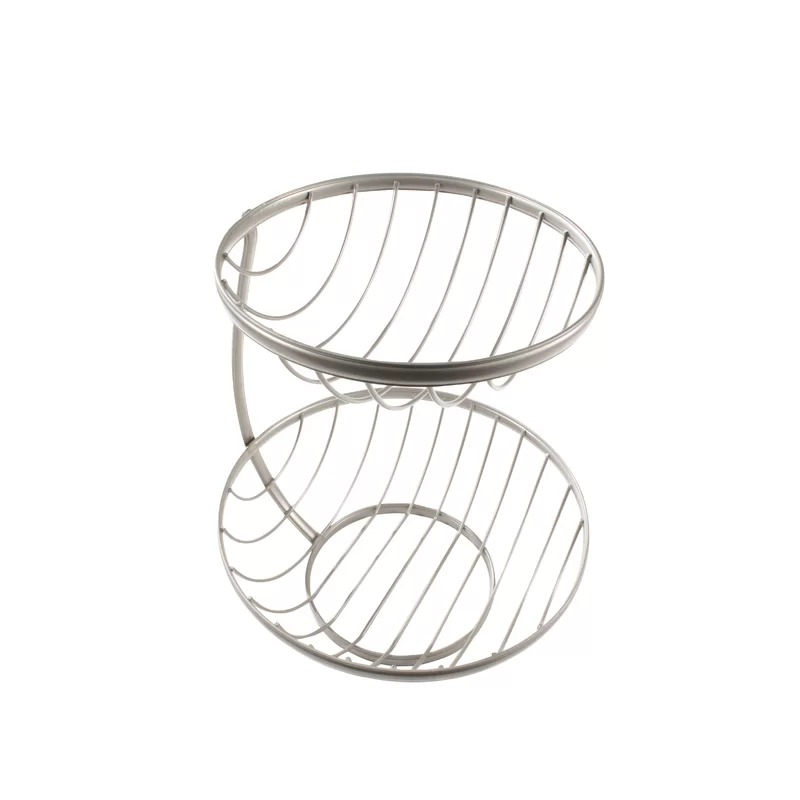 Lollia Metal Diversified 2-Tier Server-Satin Nickel Fruit Basket