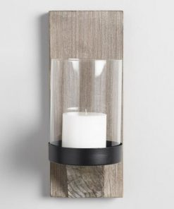 Fuzzy Rustic Wood With Glass Wall Candle Sconce Decor