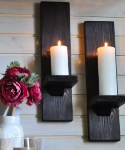 Giro Set of 2 Handmade Rustic Wood Wall Sconce