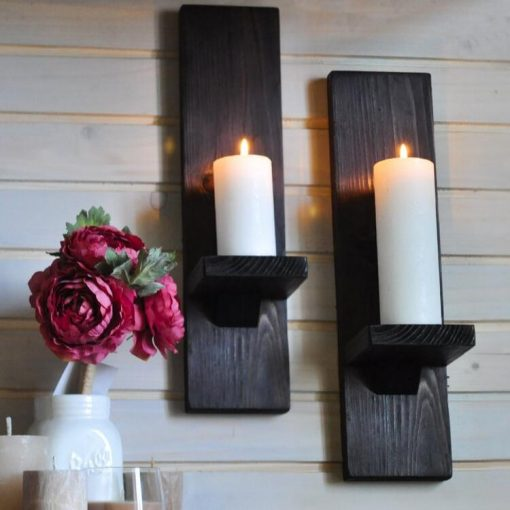 Giro Set of 2 Handmade Rustic Wood Wall Sconce