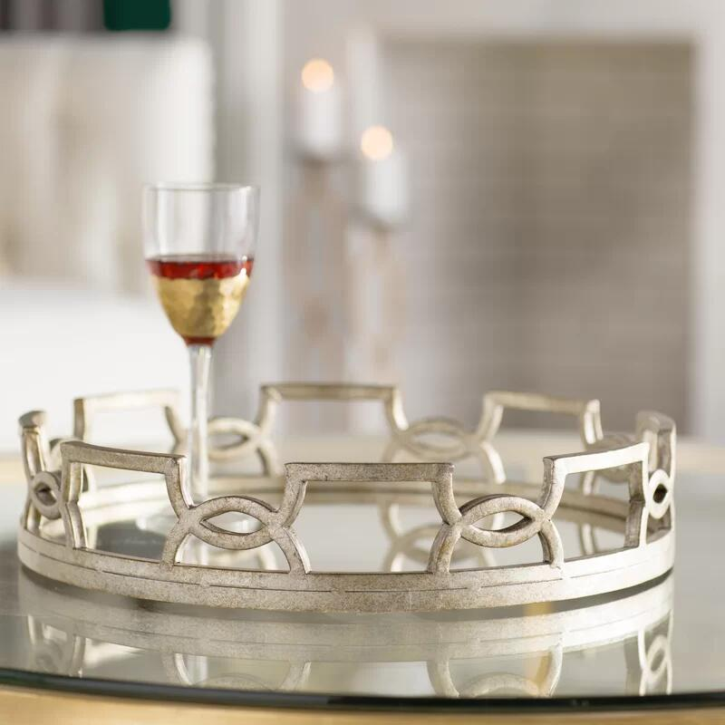Hailee Round Accent Mirrored Decorative Serving Tray